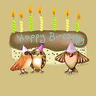 Happy Birthday Birds with Cake by Cherie Roe Dirksen