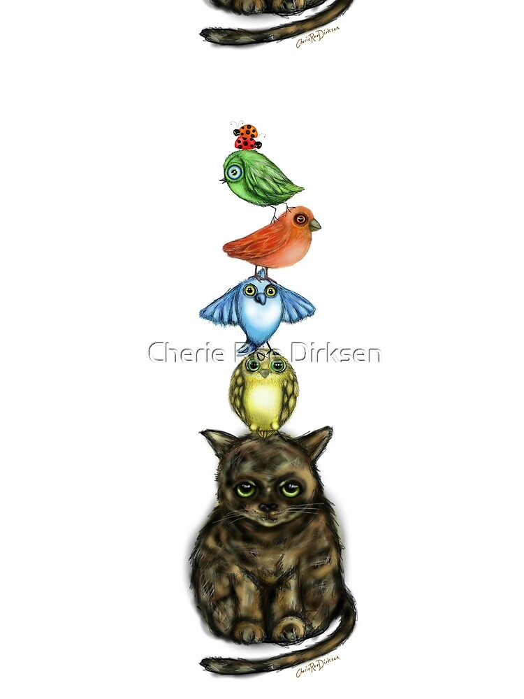 Balancing Act with Birds and a Cat by cheriedirksen
