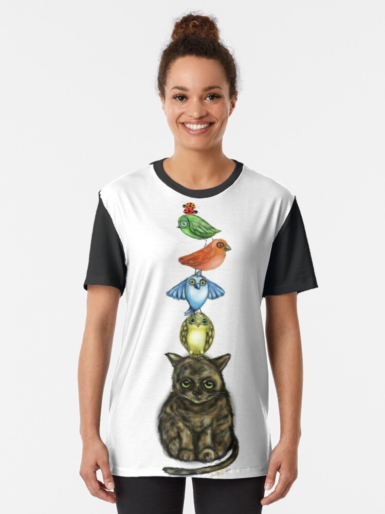Alternate view of Balancing Act with Birds and a Cat Graphic T-Shirt