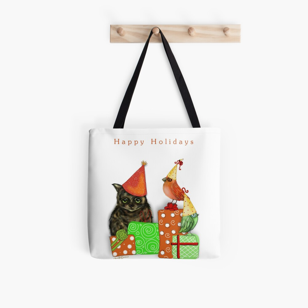 Cat and Bird Christmas Card Tote Bag