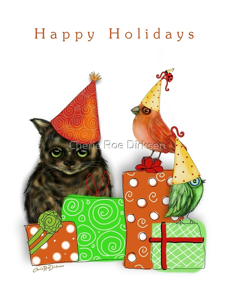 Cat and Bird Christmas Card by Cherie Roe Dirksen