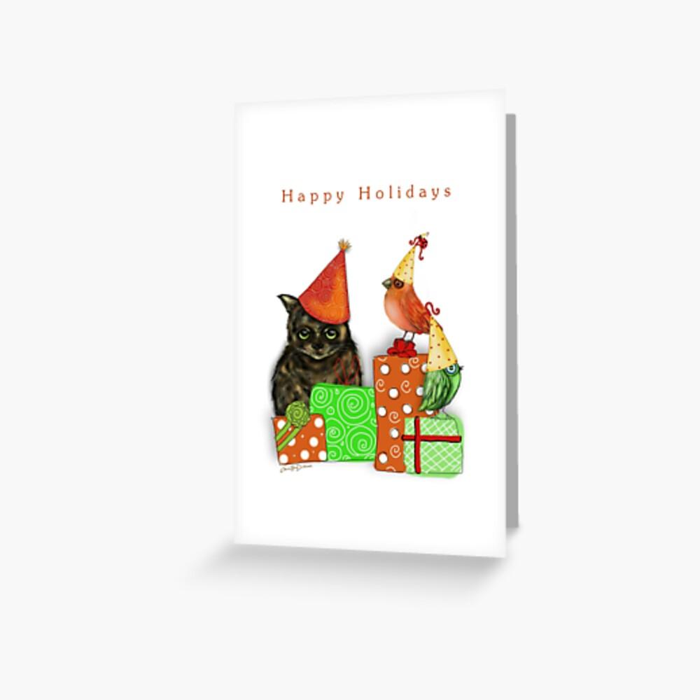 Cat and Bird Christmas Card Greeting Card
