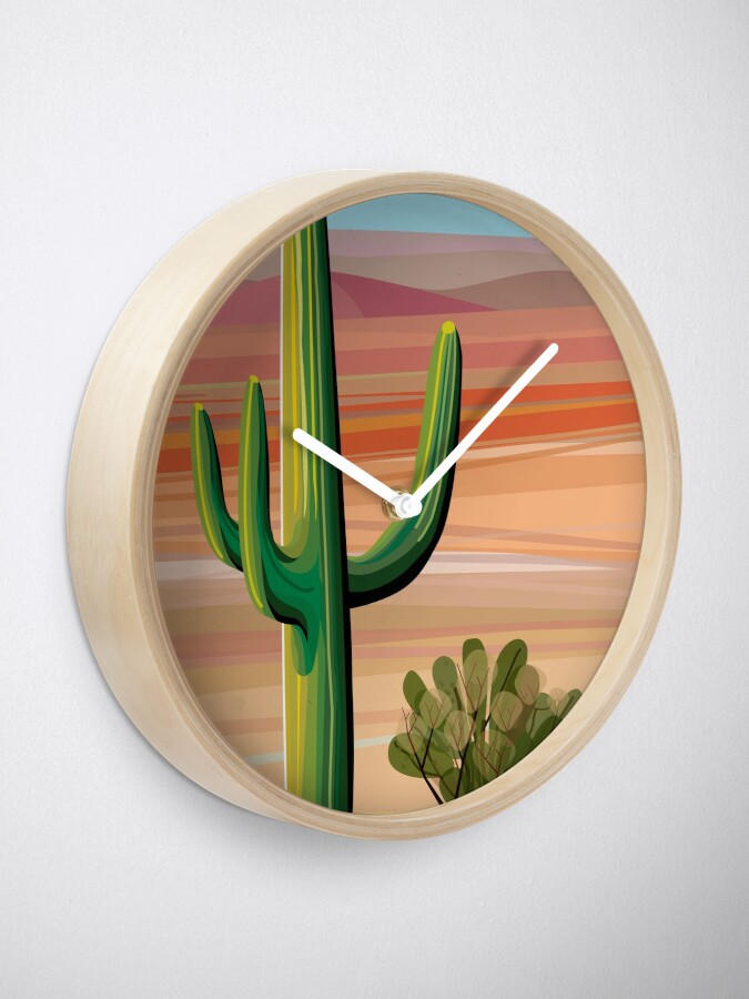 Alternate view of Saguaro Cactus in Sonora Desert Clock