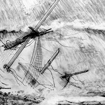 My pencil drawing of the Last Moments of an Old Sailing Ship by ZipaC