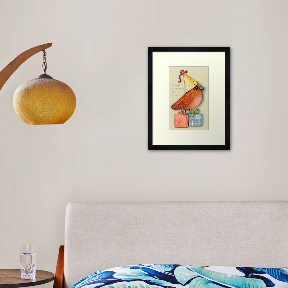 Birthday Bird Framed Art Print