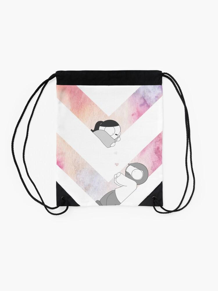 Alternate view of Watercolor Graphic - Pink Drawstring Bag