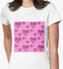 Elbkatz` peacock hearts pink Women's Fitted T-Shirt