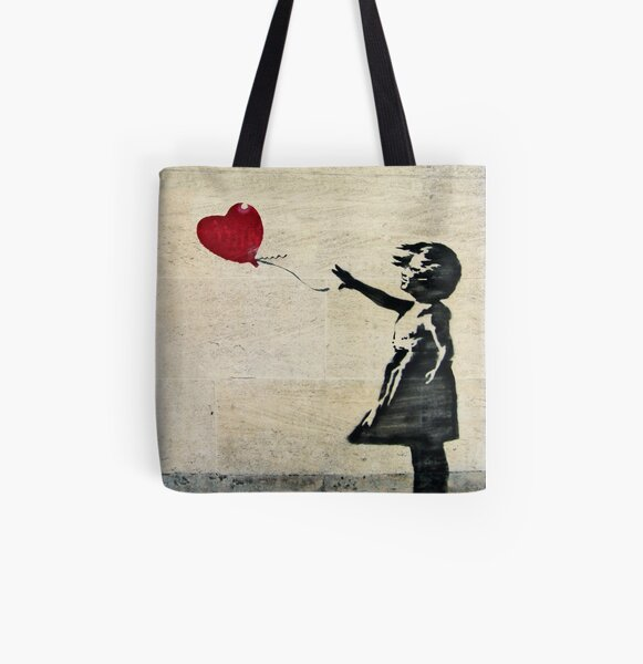 Banksy's Girl with a Red Balloon III All Over Print Tote Bag