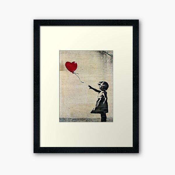 La fille de Banksy avec un ballon rouge III Impression encadrée