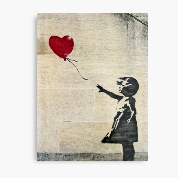 Banksy's Girl with a Red Balloon III Metal Print
