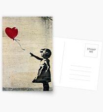 Postales La chica de Banksy con un globo rojo III