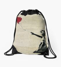 Banksy's Girl with a Red Balloon III Drawstring Bag