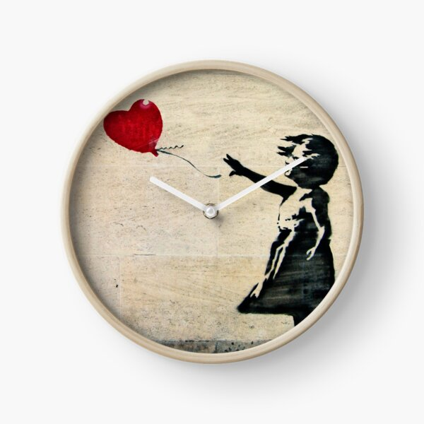 Banksy's Girl with a Red Balloon III Clock
