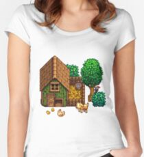 Retro Pixel Farm House Women's Fitted Scoop T-Shirt