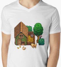 Retro Pixel Farm House Men's V-Neck T-Shirt