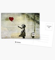 Banksy's Girl with a Red Balloon Postcards