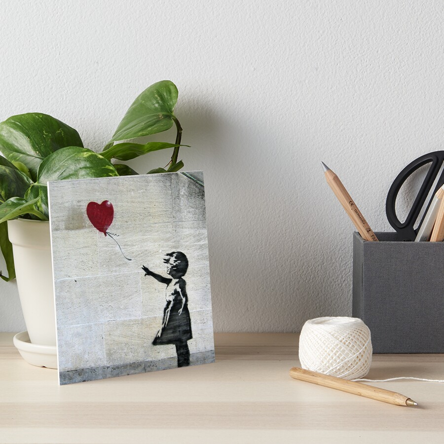 Banksy's Girl with a Red Balloon Art Board Print
