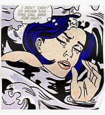 roy lichtenstein a drowning girl framed print Poster