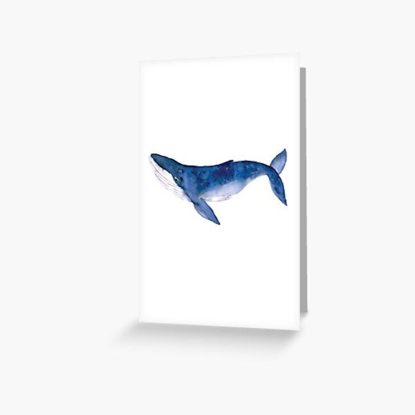 Baleine à bosse à l'aquarelle Carte de vœux