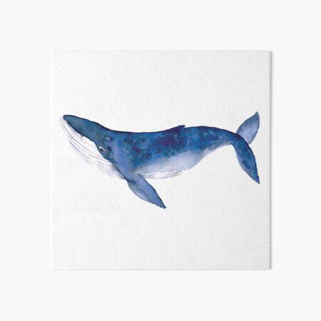 Humpback Whale in watercolor Art Board Print