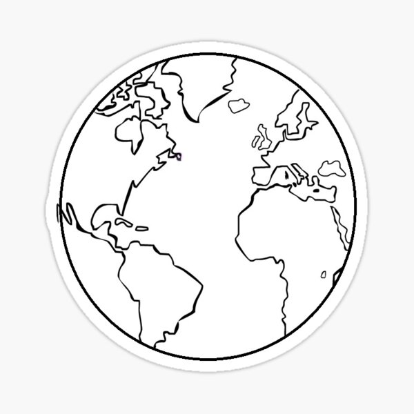 simple black and white globe Sticker