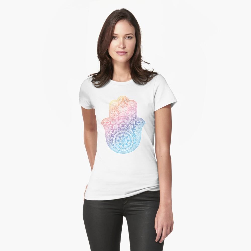 Regenbogen Hamsa Tailliertes T-Shirt