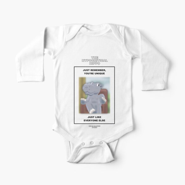 The Hypocritical Hippo Long Sleeve Baby One-Piece