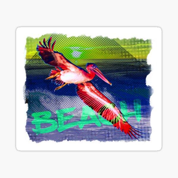 Beach with Pelican Sticker