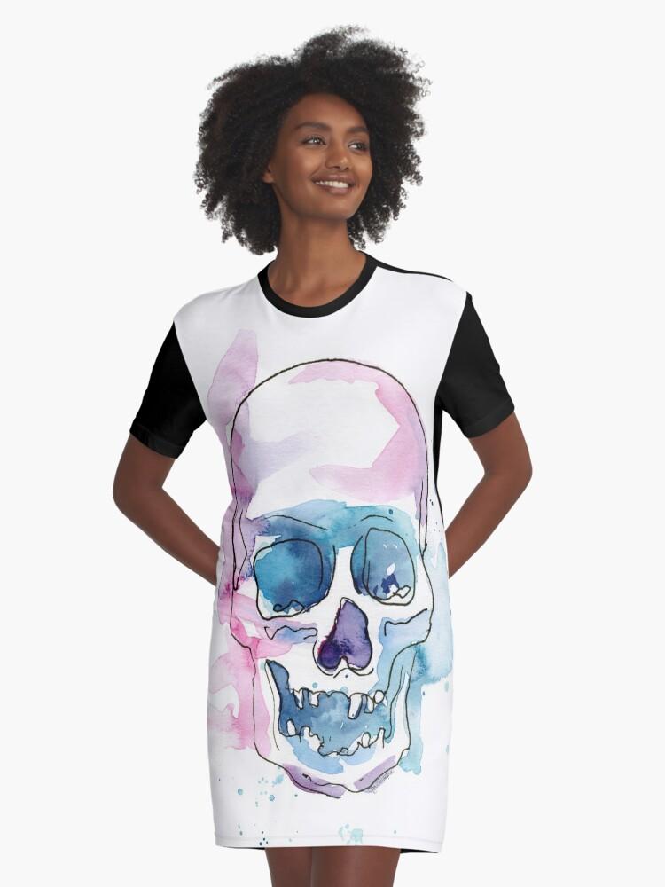 Skull Distinctive Childrens Premium Polyester T-Shirt,XS-2XL,Watercolor Abstrac