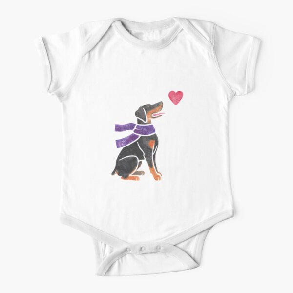 Watercolour Doberman Short Sleeve Baby One-Piece