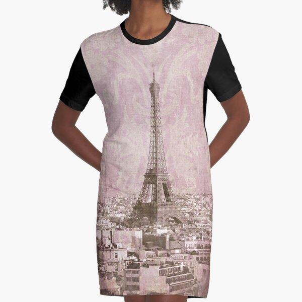 romantic Paris Graphic T-Shirt Dress
