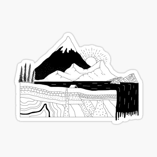 Graphic Geological Cross-Section Sticker