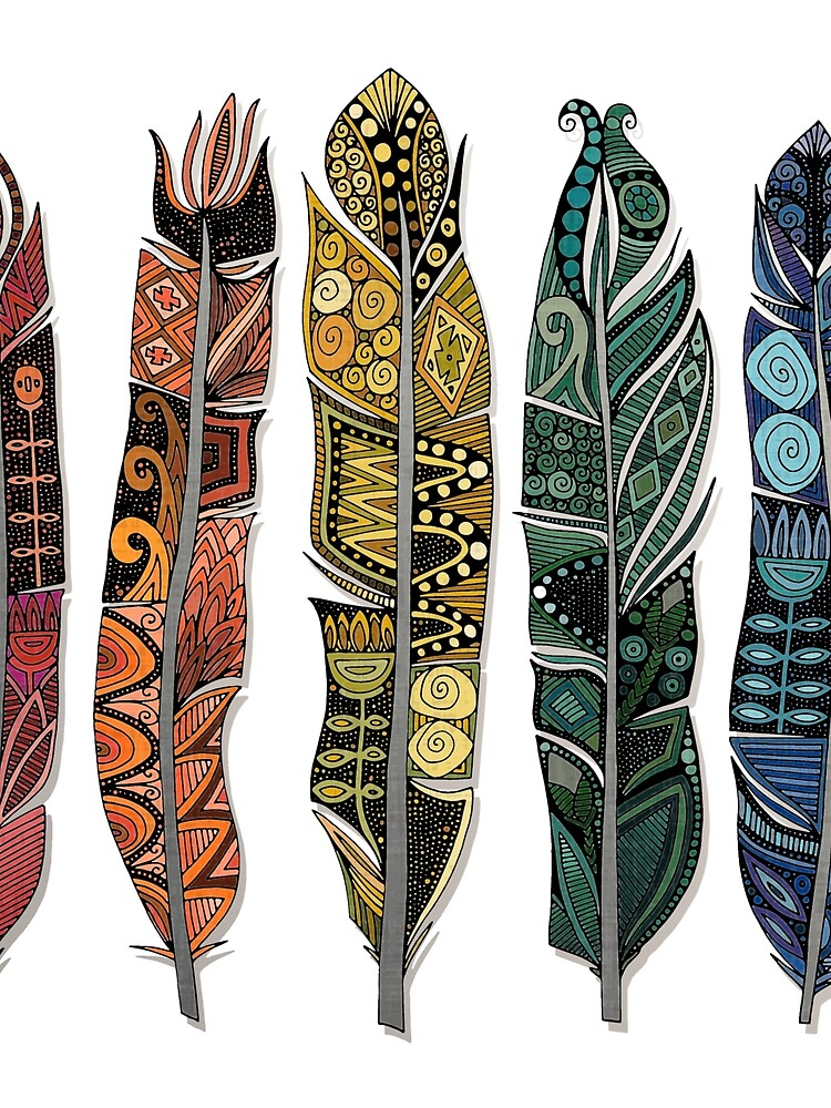 boho rainbow feathers by scrummy