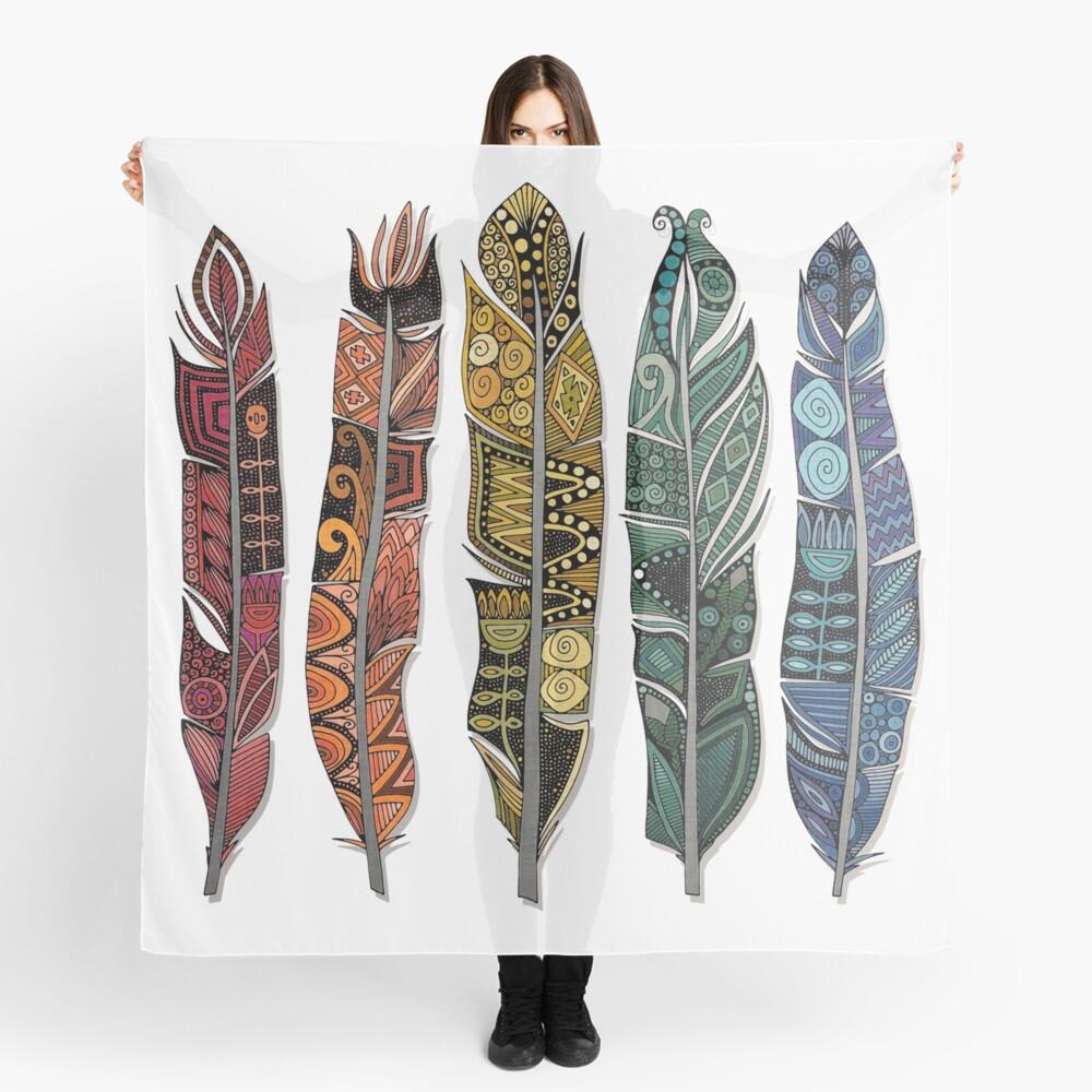 boho rainbow feathers Scarf