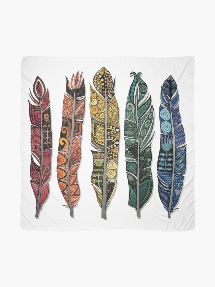 Alternate view of boho rainbow feathers Scarf