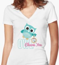 Owl Charm You Teal Owl Women's Fitted V-Neck T-Shirt