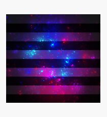Pink and blue galaxy with black stripes Photographic Print