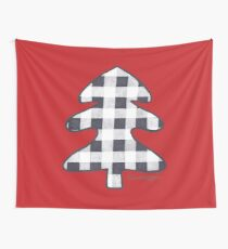 Buffalo Check Christmas Tree on Red Wall Tapestry