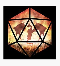 Fire Dragon D20 Photographic Print