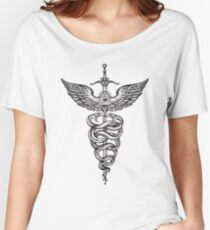 Snakes Winding Around a Winged Sword Caduceus Occult Symbol Women's Relaxed Fit T-Shirt
