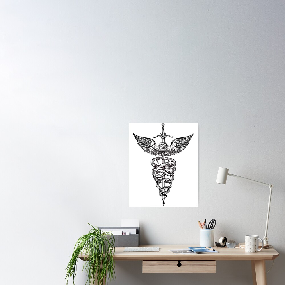Snakes Winding Around a Winged Sword Caduceus Occult Symbol Poster