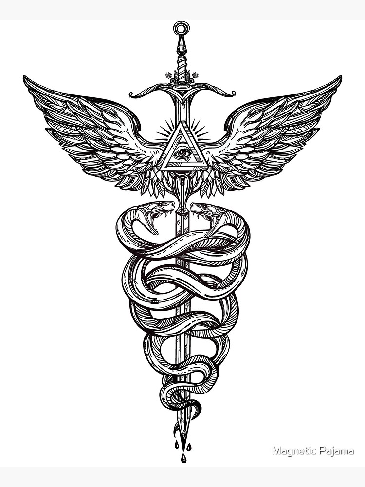 Snakes Winding Around a Winged Sword Caduceus Occult Symbol by MagneticMama