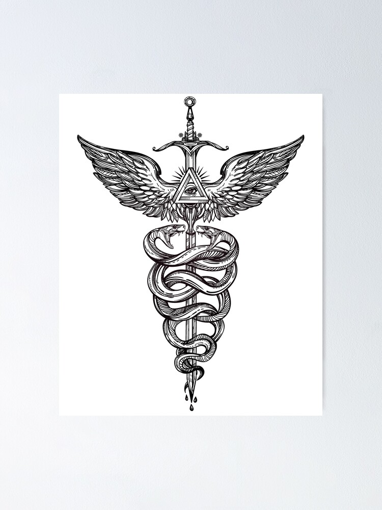 Alternate view of Snakes Winding Around a Winged Sword Caduceus Occult Symbol Poster