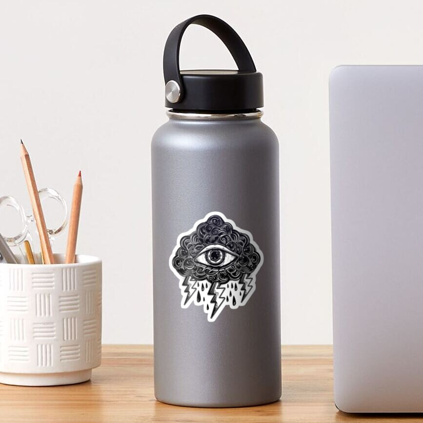 """Vintage """"Eye of the Storm"""" All-Seeing Eye with Cloud and Lightning Bolt Symbol Sticker"""