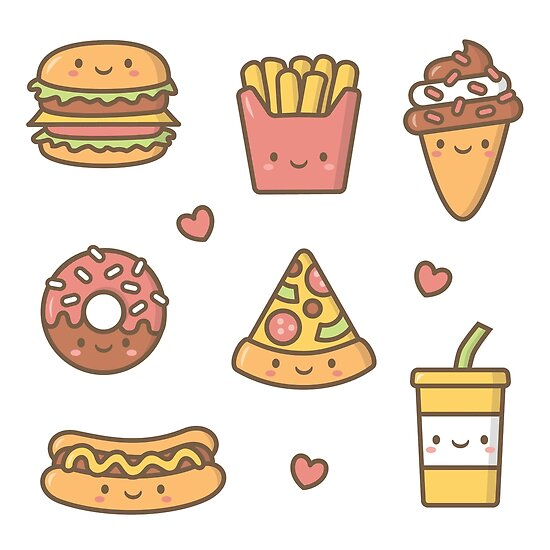 Kawaii Love Junk Food Doodles Posters By Rustydoodle Redbubble