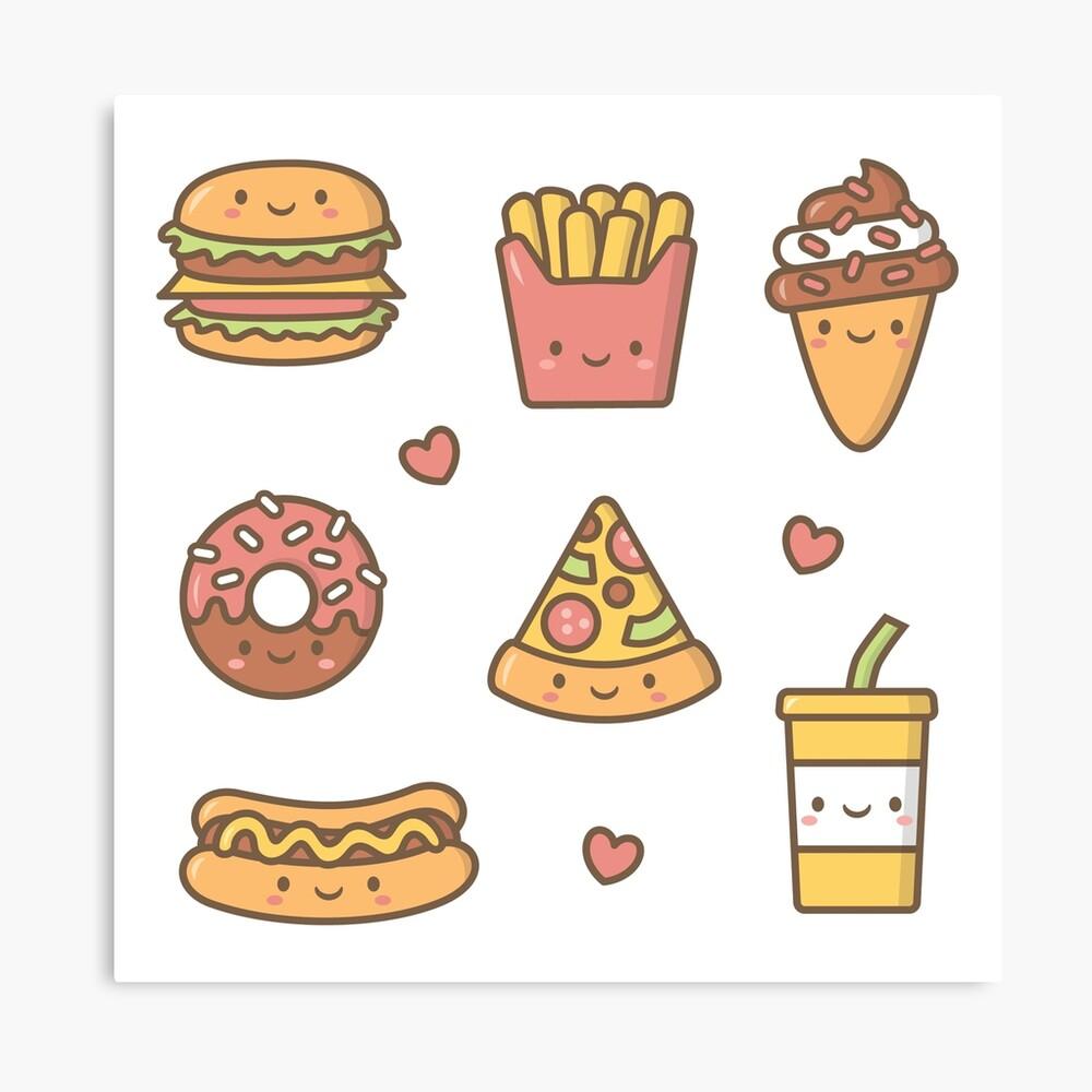 Kawaii Love Junk Food Doodles Metal Print By Rustydoodle Redbubble