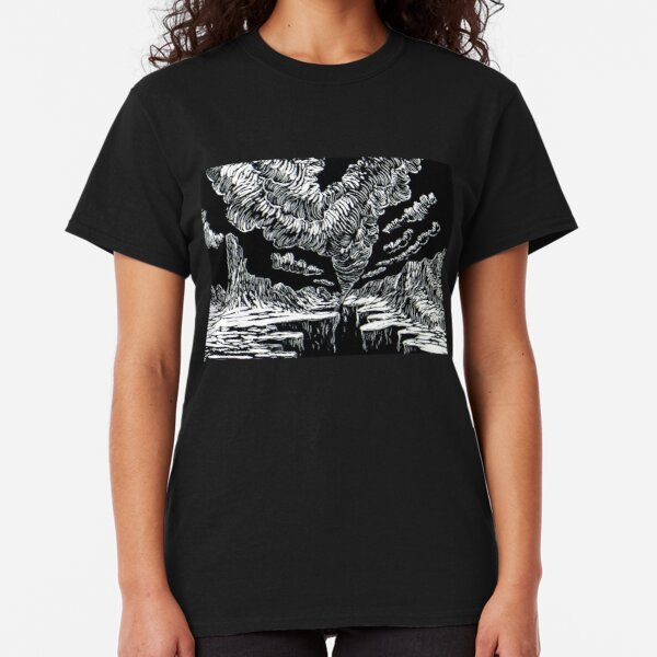 Surreal Trippy Tornado Canyon TWISTER by Vincent Monaco - black and white Classic T-Shirt