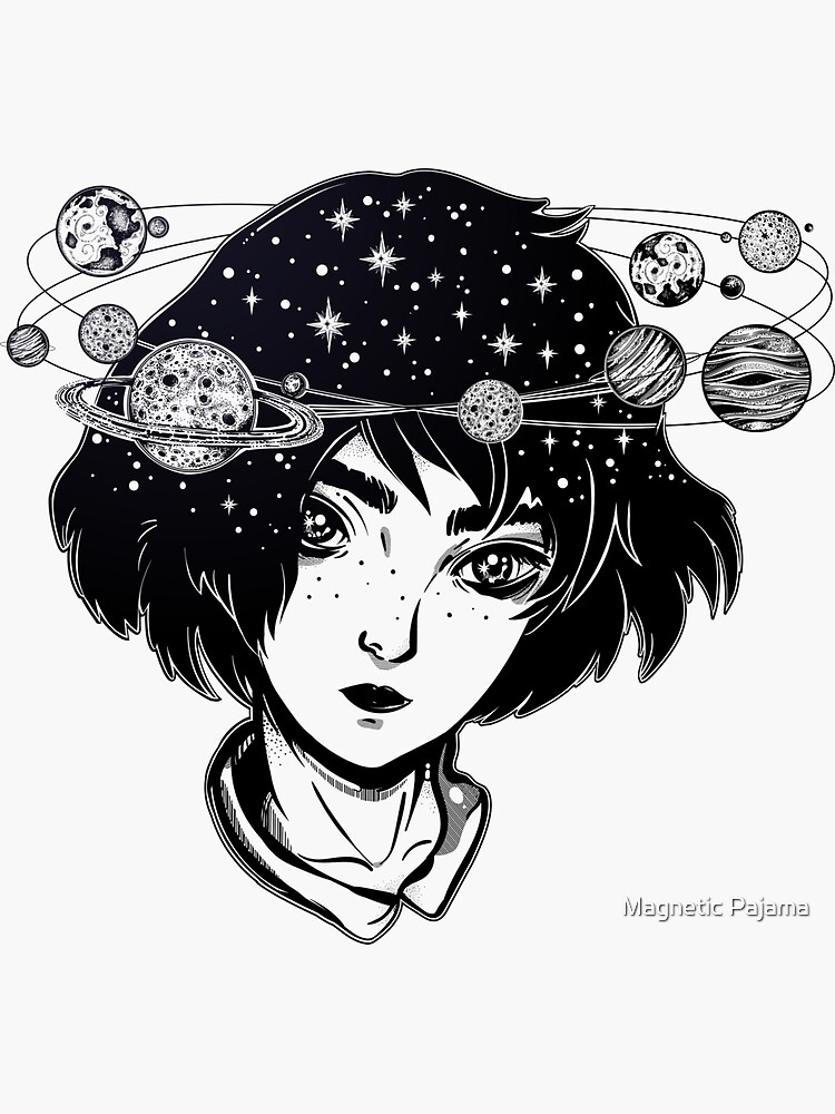"""""""Halo of Planets"""" Outer Space Girl with Head full of Stars and Planets by MagneticMama"""