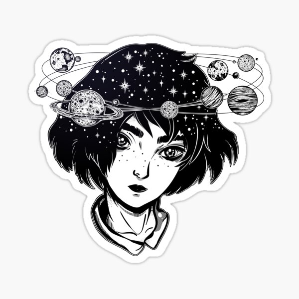 """""""Halo of Planets"""" Outer Space Girl with Head full of Stars and Planets Sticker"""