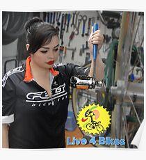 Live 4 Bikes Mechanic Fixie girl Road bike Felt TT  Poster
